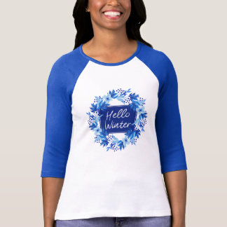 Hello Winter Blue Flower T-Shirt
