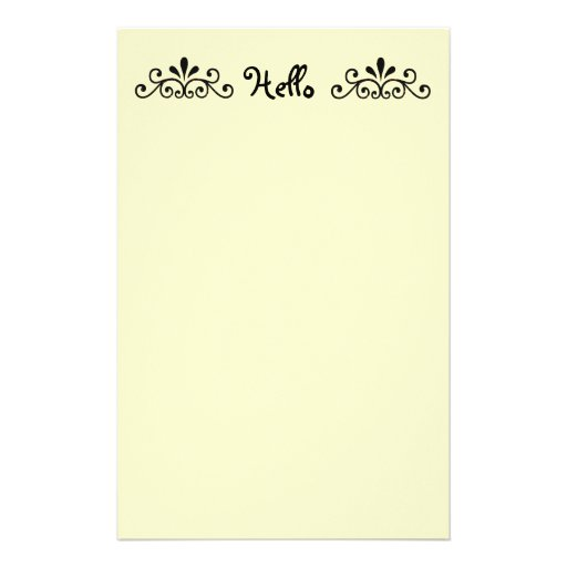 Hello, with black scroll personalized stationery