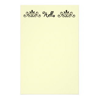 Hello, with black scroll stationery paper