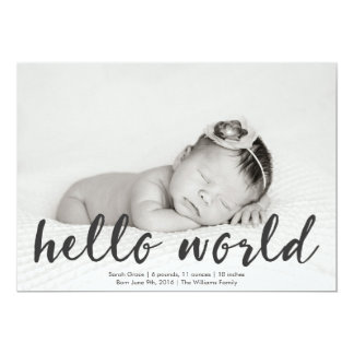 Hello World Baby Photo Birth Announcement