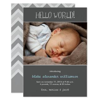 Hello World Birth Announcement//Gray 13 Cm X 18 Cm Invitation Card