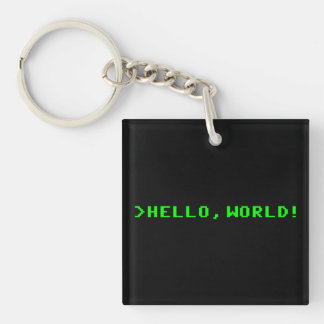Hello World Computer Programming Key Ring