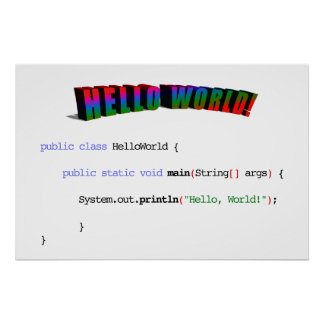 Hello World geek greeting Java Poster