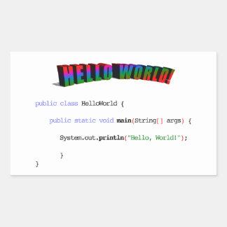 Hello World geek greeting Java Rectangular Sticker
