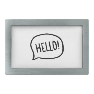 Hello! World! I am here Rectangular Belt Buckles
