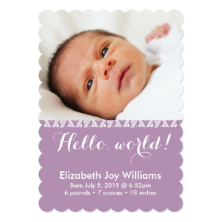 Hello World Lavender Girl Birth Announcement