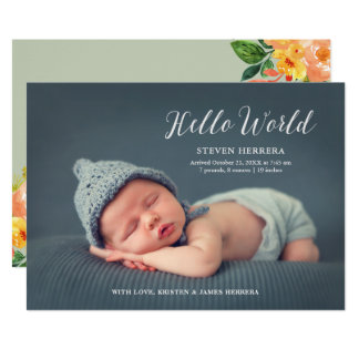 Hello World Overlay with Floral Decor Baby Birth Card