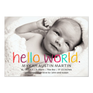 Hello World Photo Birth Announcement
