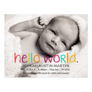 Hello World Photo Birth Announcement Postcard