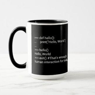 """Hello, world"" program for human interaction Mug"