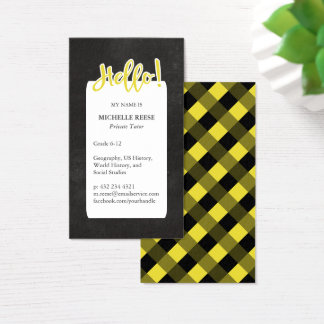Hello! Yellow & Black Private Tutor Business Card
