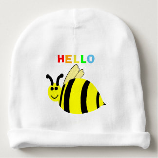 Hello Yellow Smiling Bumble Bee Baby Hat Baby Beanie