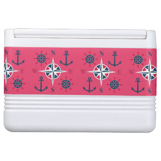 Helm Anchors & Compass Navy White Red Cooler