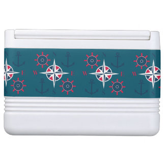 Helm Anchors & Compass Navy White Sky Blue Cooler