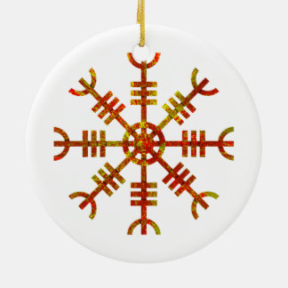 Helm Of Awe Ancient Viking Design Round Ceramic Decoration