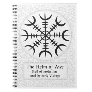 Helm Of Awe Icelandic magical sign - White Notebook