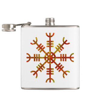 Helm Of Awe Norse Viking Symbol Hip Flask