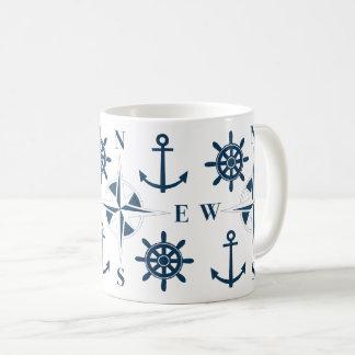 Helm Ship's Steering Anchors & Compass Navy White Coffee Mug