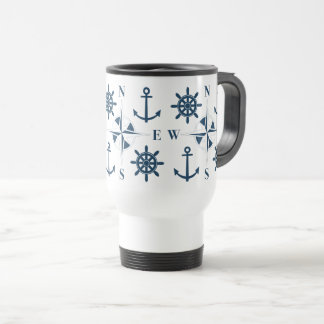 Helm Ship's Steering Anchors & Compass Navy White Travel Mug