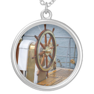 Helm wheel silver plated necklace