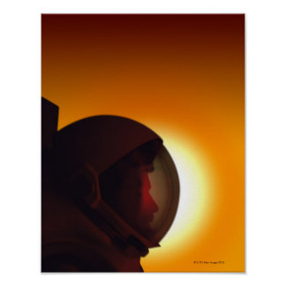 Helmeted Astronaut Against the Sun Poster