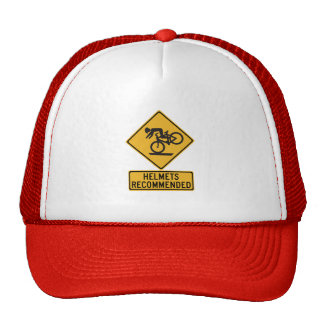 Helmets Recommended 2, Traffic Warning Sign, USA Mesh Hat