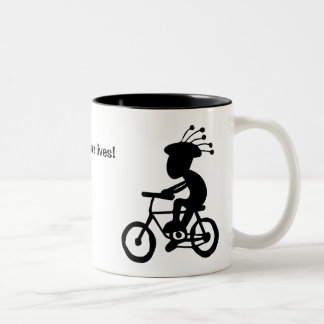 Helmets save lives! Kokopelli with and without. Two-Tone Coffee Mug