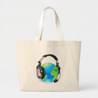 Help desk headset world globe tote bags