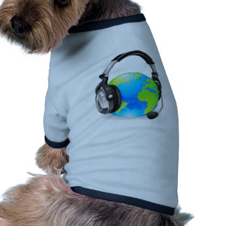 Help desk headset world globe doggie tshirt
