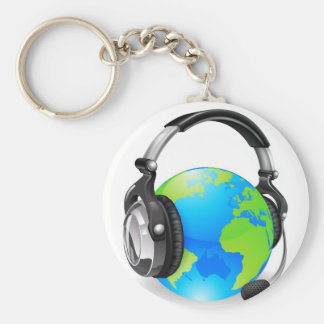 Help desk headset world globe keychains