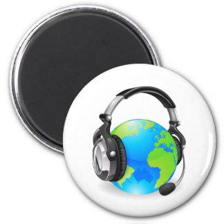 Help desk headset world globe fridge magnet