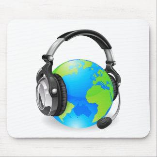 Help desk headset world globe mouse pads