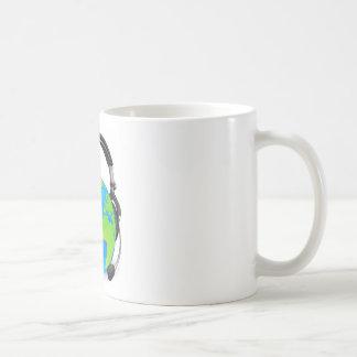 Help desk headset world globe coffee mugs