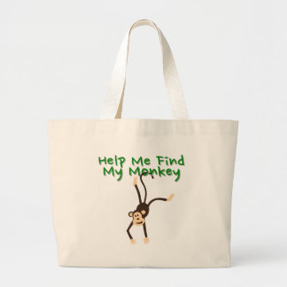 Help Find My Monkey Large Tote Bag