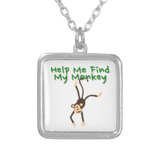 Help Find My Monkey Silver Plated Necklace
