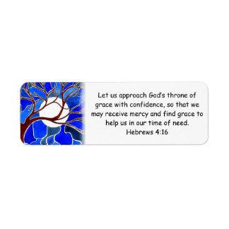 Help in time of need - Hebrews 4:16 - Bible verse Return Address Label