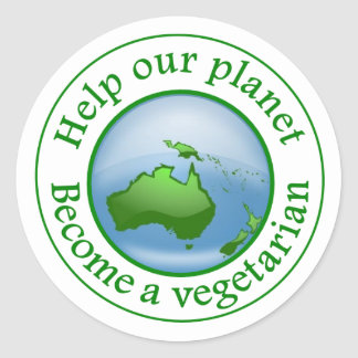 Help our planet., Become a vegetarian Classic Round Sticker