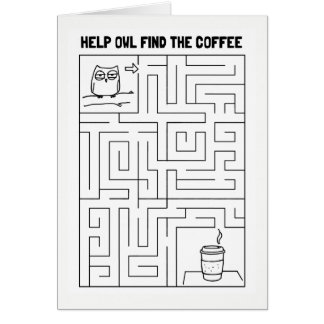 Help Owl Find the Coffee - Blank Inside Card