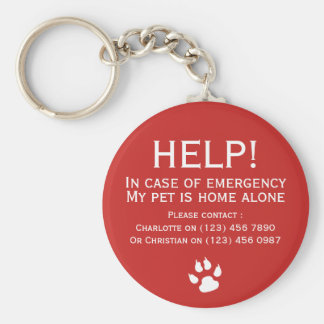 Help pet home alone emergency contact personalised basic round button key ring