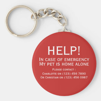 Help pet home alone emergency contact personalized key ring
