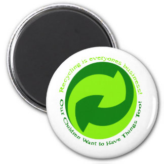 Help recycle everyone. 6 cm round magnet