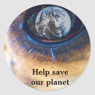 Help save our planet/ Earth Day_Sticker Round Sticker