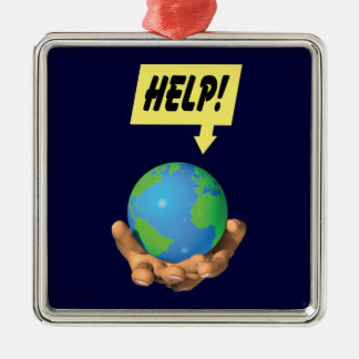 Help the Earth Silver-Colored Square Decoration
