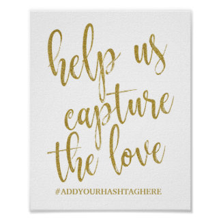 Help us Capture the Love Glitter 8x10 Wedding Sign
