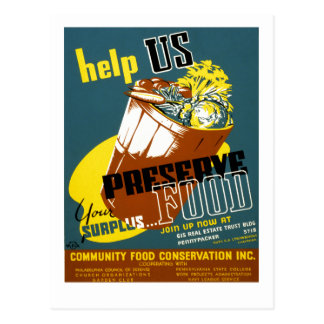 Help Us Preserve Food Postcard