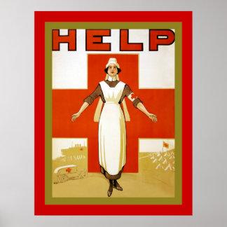 Help ~ Vintage Nurse ~ World War 1 Poster