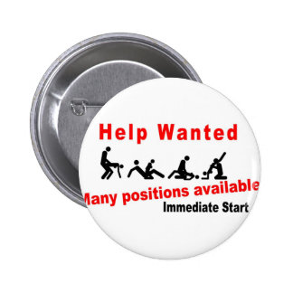 Help wanted 6 cm round badge
