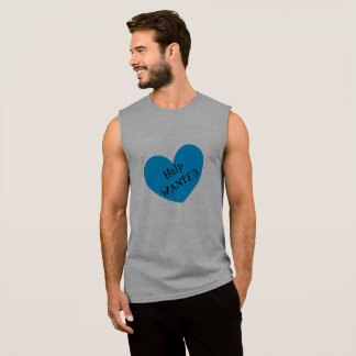 Help WANTED Funny Sexy Blue Heart Print Men's Sleeveless Shirt