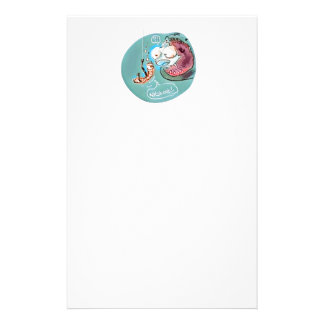 helpful fishbait earthworm funny cartoon personalised stationery