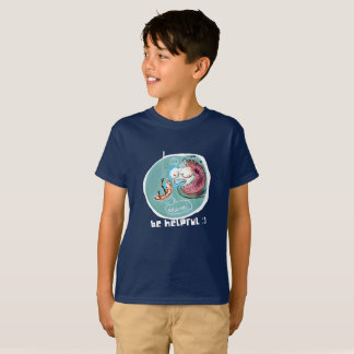 helpful fishbait earthworm funny cartoon T-Shirt